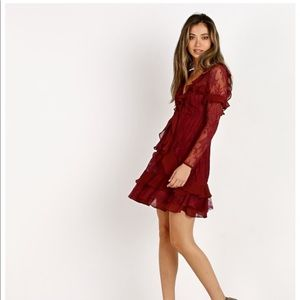 NWT For Love and Lemons Daphne Deep Red Dress